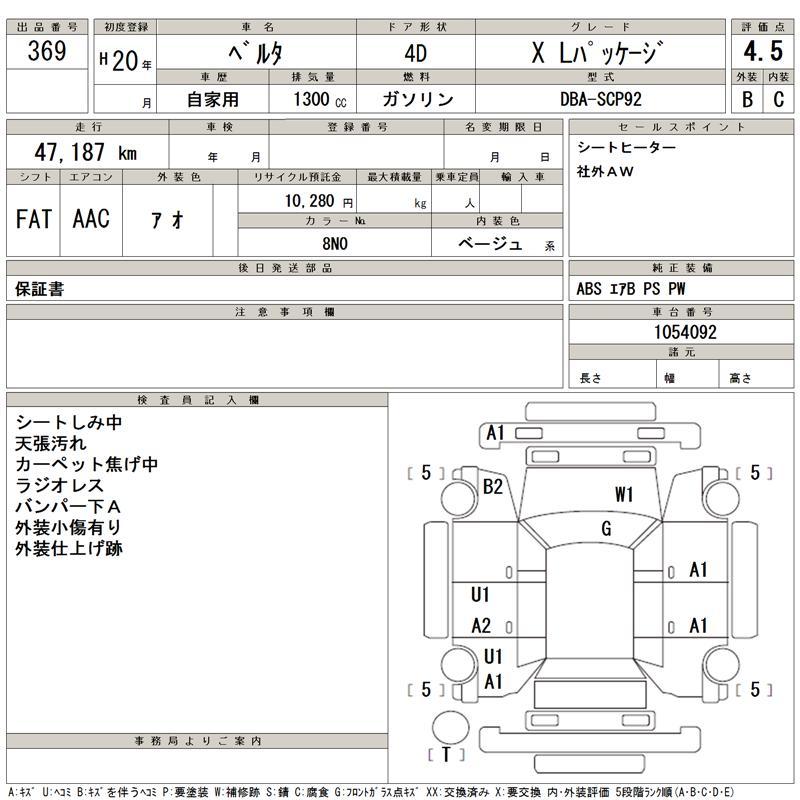 2008 Toyota Belta Auction Sheet