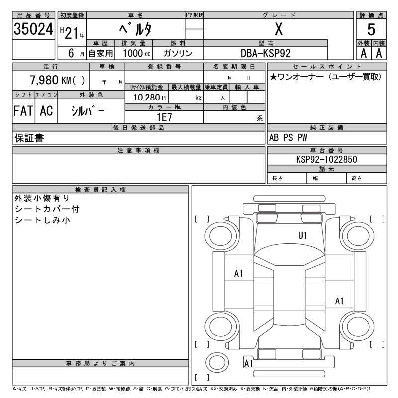 Auction Sheet of Toyota Belta