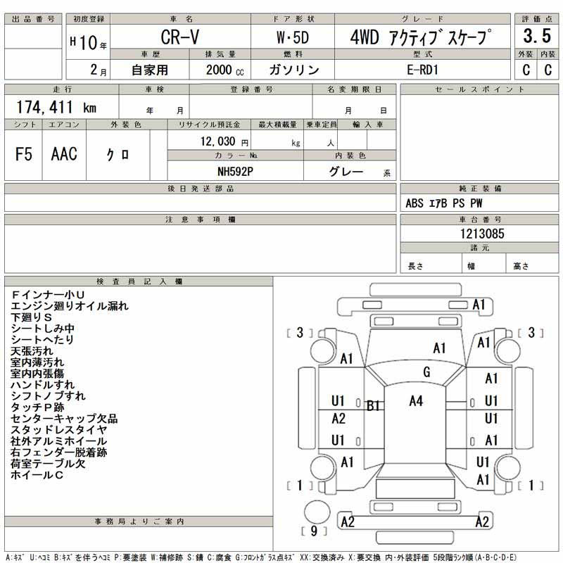 Auction Sheet of Japanese Honda CRV