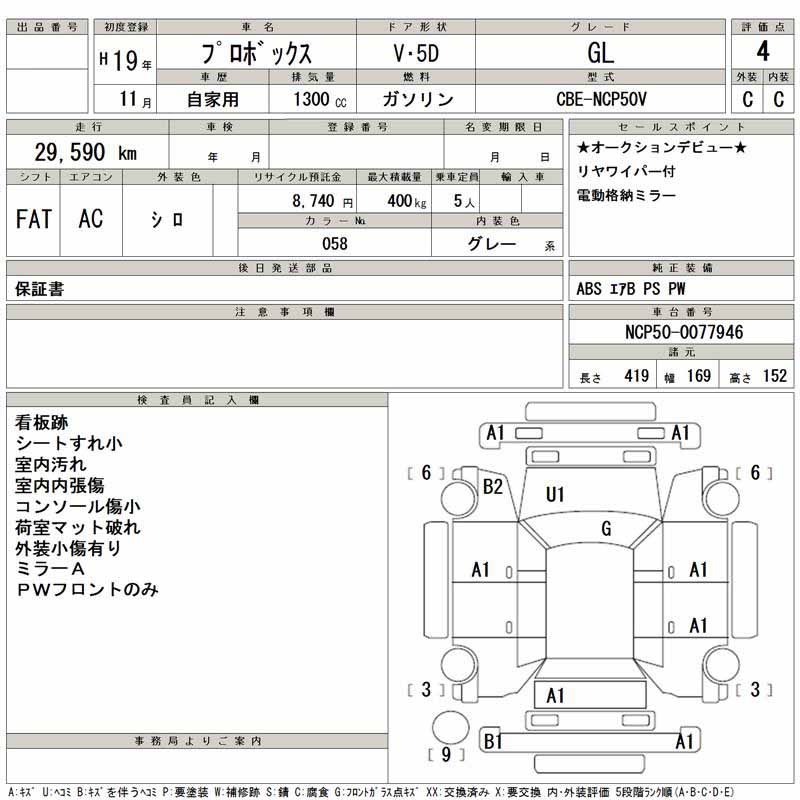 Auction Sheet of JapaneseToyota Probox
